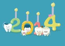 Lyckligt nytt år från den tand- familjen royaltyfri illustrationer
