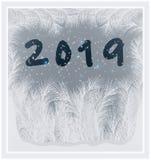 Lyckligt nytt 2019 år frostat fönster royaltyfri illustrationer