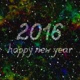 Lyckligt nytt år 2016 gjorde av stjärnor i färgrikt universum seamless illustrationrep Arkivbild