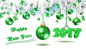 Lyckligt nytt år grön illustration 3D Royaltyfria Bilder