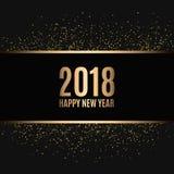 Lyckligt nytt år 2018 Guld blänker nytt år Guld- bakgrund för reklambladet, baner, rengöringsduk, titelrad, affisch, tecken royaltyfri illustrationer