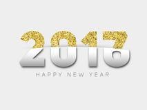 Lyckligt nytt år 2017 Guld blänker nytt år Guld- bakgrund för Arkivfoto