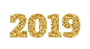 Lyckligt nytt 2019 år Guld blänker partiklar och mousserar Beståndsdel för ferievektordesign för kalendern, partiinbjudan Arkivbilder