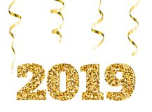 Lyckligt nytt 2019 år Guld blänker partiklar och mousserar Beståndsdel för ferievektordesign för kalendern, partiinbjudan Arkivbild