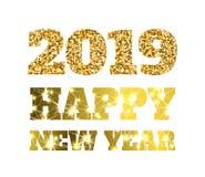 Lyckligt nytt 2019 år Guld blänker partiklar och mousserar Beståndsdel för ferievektordesign för kalendern, partiinbjudan Royaltyfri Foto