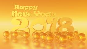 Lyckligt nytt år 2018 guld- Honey Horizontal Royaltyfri Illustrationer