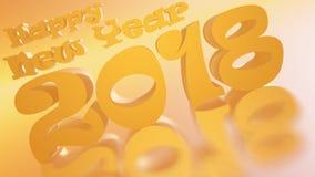 Lyckligt nytt år 2018 guld- Honey Inclinated Royaltyfri Illustrationer