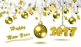 Lyckligt nytt år guld- illustration 3D Royaltyfri Fotografi