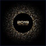Lyckligt nytt år 2019 Guld- ljusa diskoljus Rastrerad cirkelram Lycklig kortbakgrund för nytt år stock illustrationer