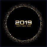 Lyckligt nytt år 2019 Guld- ljusa diskoljus Rastrerad cirkelram Lycklig kortbakgrund för nytt år royaltyfri illustrationer