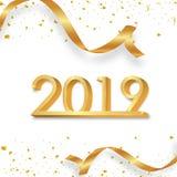 Lyckligt nytt år 2019 Guld- nummer 3D med band och konfettier på en vit bakgrund royaltyfri illustrationer