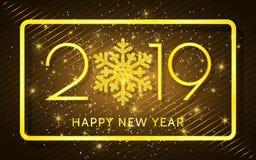 Lyckligt nytt år 2019 Guld- nummer och konfettier på en mörk bakgrund också vektor för coreldrawillustration vektor illustrationer
