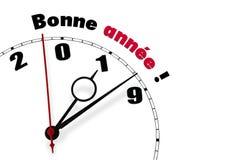 Lyckligt nytt år 2019 i franska ord stock illustrationer