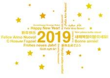 Lyckligt nytt år 2019 i olika språk royaltyfri illustrationer