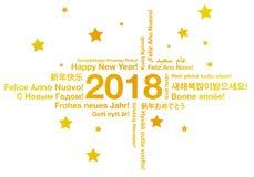 Lyckligt nytt år i olikt begrepp för språkhälsningkort Arkivfoton