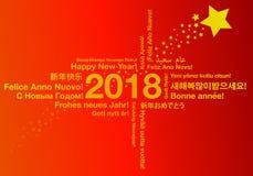 Lyckligt nytt år i olikt begrepp för språkhälsningkort Royaltyfri Bild