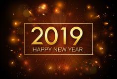 Lyckligt nytt år 2019 Jul Hälsa den guld- inskriften på bakgrunden av fyrverkerier royaltyfri illustrationer