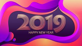 Lyckligt nytt år 2019 Jul Olorful bakgrund för Ð-¡ abstrakt vektorillustration Beröm vektor illustrationer