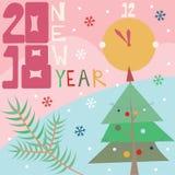 Lyckligt nytt år 2018 kortjul som greeting treen Royaltyfri Fotografi