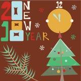 Lyckligt nytt år 2018 kortjul som greeting treen Arkivfoton