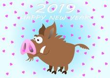 Lyckligt nytt år 2019 Kulört kort för lycklig feriedag också vektor för coreldrawillustration royaltyfri illustrationer