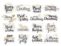 Lyckligt nytt år lyckönskan för glad jul Handskriven märka samling Vektorclipartillustrationer royaltyfri illustrationer