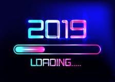 Lyckligt nytt år 2019 med att ladda blå neonstil för symbol Fortskrida stången som når nästan helgdagsafton för ` s för nytt år V royaltyfri illustrationer