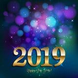 Lyckligt nytt år 2019 med bokeh på mörker - blå färgbakgrund Ve arkivbilder