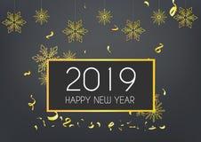 Lyckligt nytt år 2019 med den guld- dekoren arkivbild
