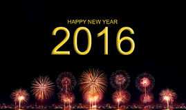 Lyckligt nytt år 2016 med det höga upplösningsfyrverkerit Arkivfoton