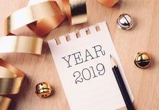 Lyckligt nytt år 2019 med färgrik garnering fotografering för bildbyråer
