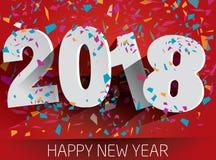 Lyckligt 2018 nytt år med fallande konfettier Pappers- illustr för vektor Royaltyfri Bild