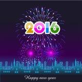 Lyckligt nytt år 2016 med fyrverkeribakgrund Fotografering för Bildbyråer