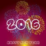 Lyckligt nytt år 2016 med fyrverkeribakgrund Arkivfoto