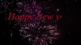 Lyckligt nytt år 2018 med fyrverkerier stock video