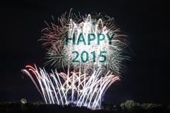 Lyckligt nytt år 2015 med fyrverkerier Fotografering för Bildbyråer