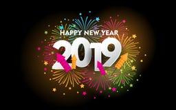 Lyckligt nytt år 2019 med fyrverkerit vektor illustrationer