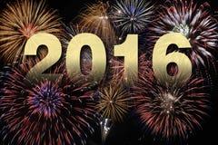 Lyckligt nytt år 2016 med fyrverkerit Arkivfoton