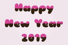 Lyckligt nytt år 2019 med glasad chokladtexteffekt arkivfoton