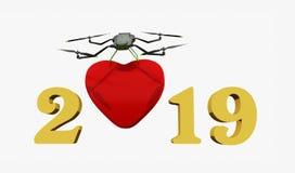 Lyckligt nytt år 2019 med röd hjärta och guld- nummer, surr, illustration som 3D isoleras på vit vektor illustrationer