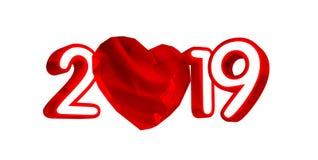 Lyckligt nytt år 2019 med röd hjärta och röda nummer, illustration 3D, vektor illustrationer