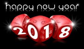 Lyckligt nytt år 2018 med röd tärning Royaltyfria Foton