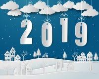 Lyckligt nytt år 2019 med stads- bygd för snö i vintersäsong royaltyfri foto