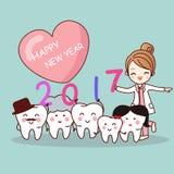 Lyckligt nytt år med tanden royaltyfri illustrationer