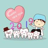 Lyckligt nytt år med tandläkaren stock illustrationer