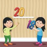 Lyckligt nytt år 2018 med tecknad filmdesign vektor illustrationer