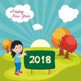Lyckligt nytt år 2018 med tecknad filmdesign stock illustrationer