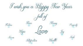 Lyckligt nytt år mycket av fred, hälsa, pengar, förmögenhet, happynessen, leendet och glädje stock illustrationer