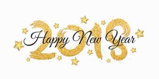 Lyckligt nytt år 2018 Nummer av guld- blänker med svart text på en vit bakgrund guld- stjärnor E Royaltyfria Bilder