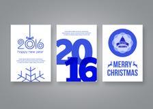 Lyckligt nytt år 2016 och för vektorblått för glad jul mall för design för broschyr modern med nummer Uppsättning av vykortet royaltyfri illustrationer